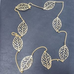 Gold Chain Long Leaf Leaves Necklace Jewelry